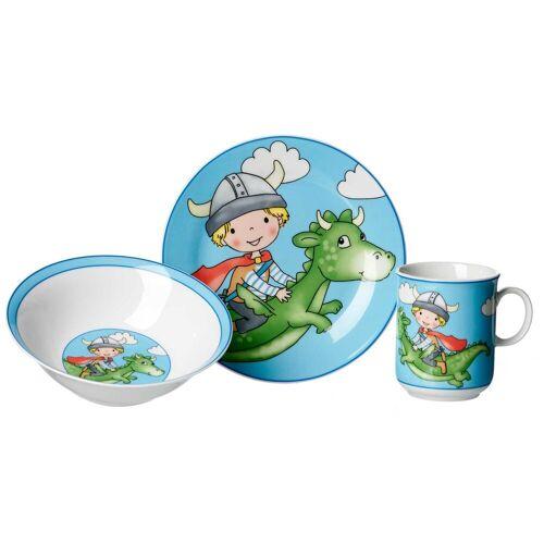 Ritzenhoff & Breker Kindergeschirr-Set »DRACHE Kindergeschirr Set 3-teilig blau« (3-tlg), Porzellan