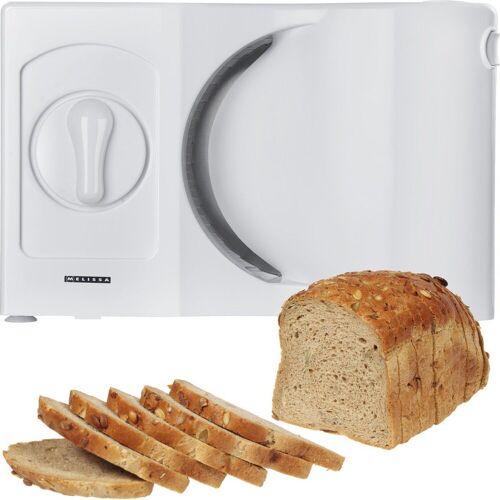 MELISSA Allesschneider 16310186 Allesschneider für Linkshänder Wellinschliffmesser klappbar Brotschneidemaschine Brotmaschine weiß