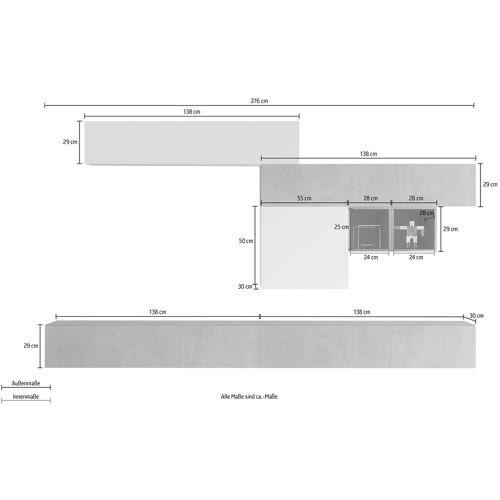 LC Wohnwand »Infinity«, (Set, 6-tlg), Beton-Optik / Anthrazit