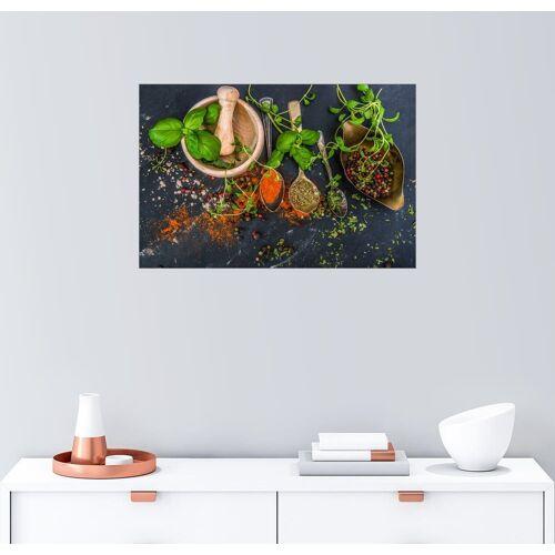 Posterlounge Wandbild, Mörser mit Kräutern und Gewürzen