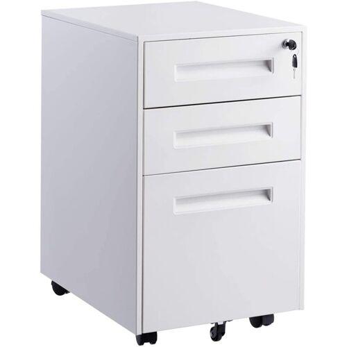 COSTWAY Rollcontainer »Rollcontainer Bürocontainer«, abschließbar, mit Kippschutzrad & 3 Schubladen, weiß