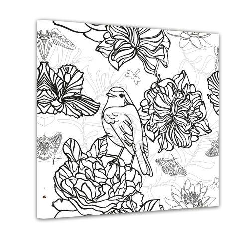 Bilderdepot24 Wandbild, Vogel mit Blumen - Ausmalbild
