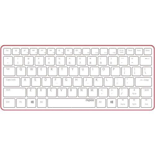 Rapoo »E6350 Bluetooth Tastatur« Ultra-Slim-Bluetooth-Tastatur (kabellos, Aluminium, BT 3.0, Li-Ionen-Akku, flaches, hochwertiges Design, deutsch (QWERTZ), 13990 - weiß/rot), weiß/rot