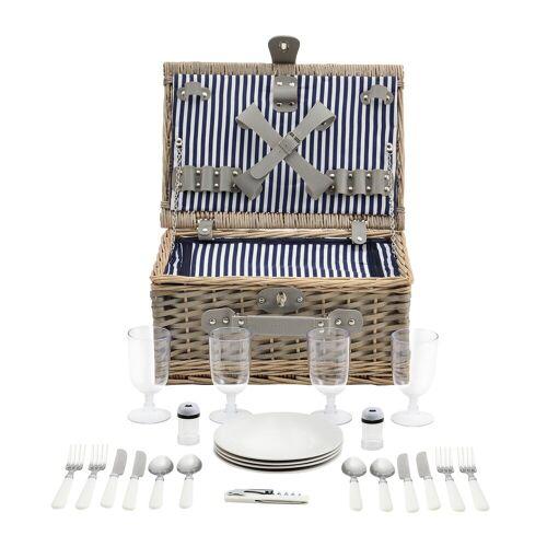 casa.pro Besteck-Set, Picknickkorb mit Besteck für 4 Personen Blau-Weiß, blau-weiß