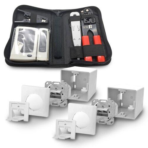 ARLI »2x Cat6a Netzwerkdose 2 Port + Werkzeugset / Crimpzange Rj45 + Tester + LSA + Kabelmesser Set« Netzwerk-Adapter, 7 cm