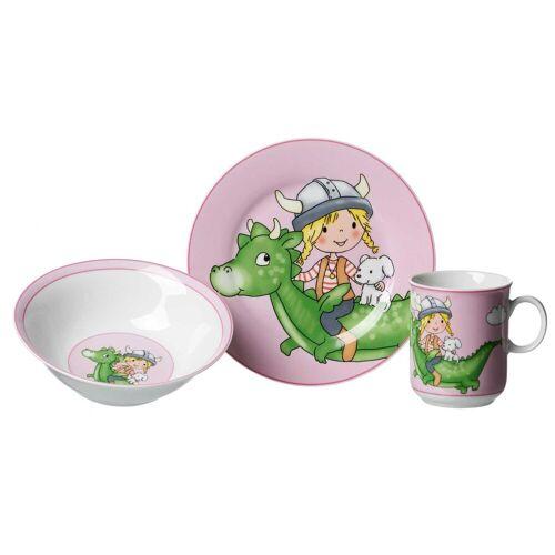 Ritzenhoff & Breker Kindergeschirr-Set »DRACHE Kindergeschirr Set 3-teilig pink« (3-tlg), Porzellan