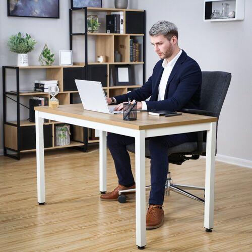 SONGMICS Schreibtisch »LWD64N«, Bürotisch, Esstisch, Arbeitstisch, modern, holzfarben + weiß