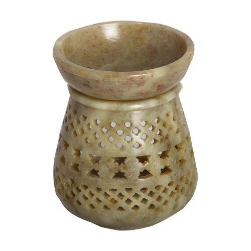 Casa Moro Duftlampe »Orientalische Duftlampe Shakir-2 aus Soapstone geschnitzt 10x10x11 cm (B/T/H) Diffusor, Teelicht-Halter für Aromatherapie, Handmade Aromalampe, SL3020«