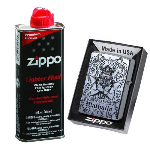 elbedruck Tischfeuer »Wikinger Walhalla Lasergravur in Zippo Chrome Brushed Sturmfeuerzeug Thor Odin Benzinfeuerzeug«