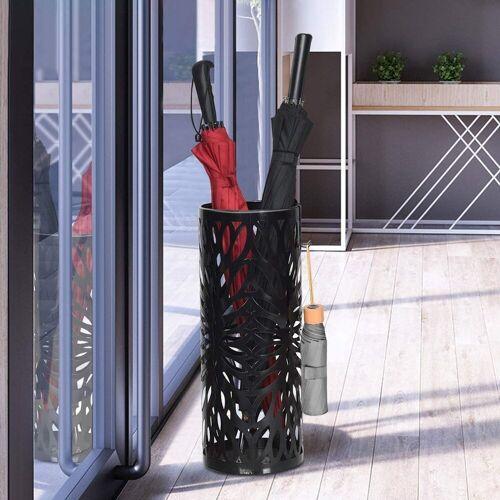 COSTWAY Schirmständer »Schirmständer Schirmhalter«, mit 2 Haken, Metall, schwarz
