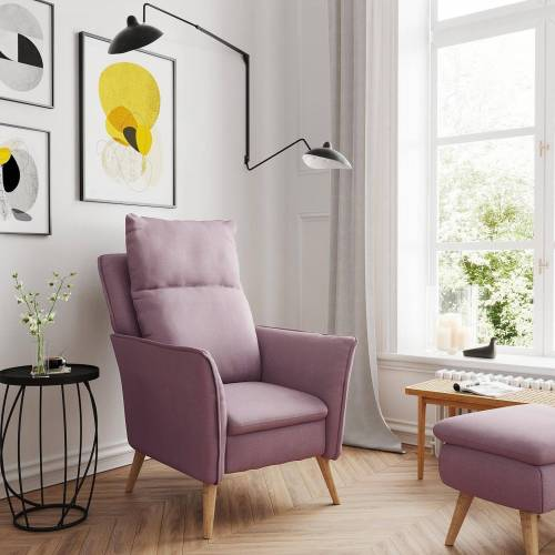 PLACE TO BE. Relaxsessel, Moderner hochwertiger Relaxsessel Fernsehsessel ohne Funktion Insideout Small mit XXL Rückenlehne, Rosa