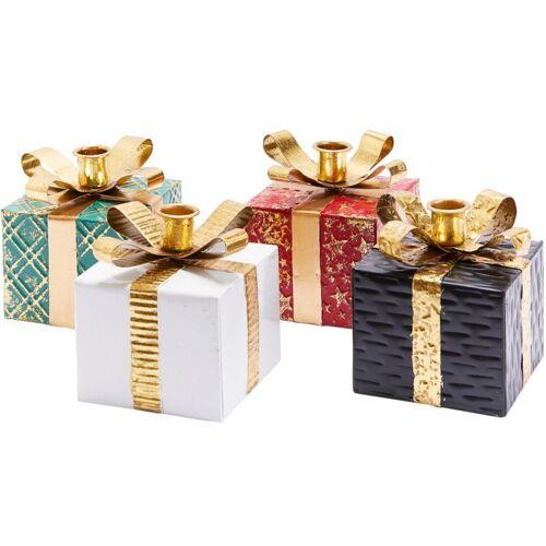 Kerzenhalter »Geschenkpäckchen« (Set, 4 Stück), mit Geschenkband, 10x10 cm