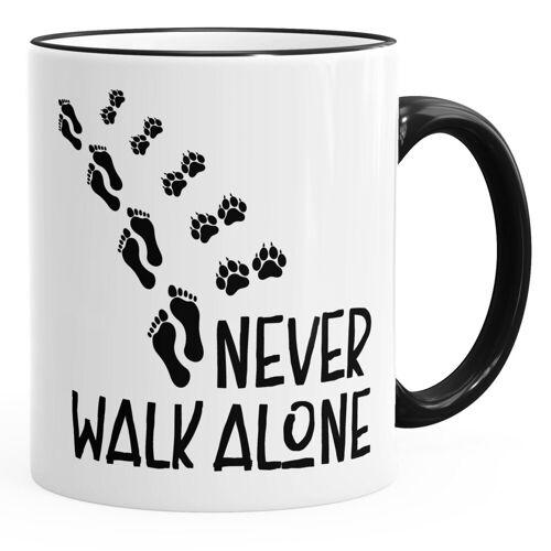 MoonWorks Tasse »Kaffee-Tasse Never walk alone Hund Pfoten Hundepfoten Pfotenabdrücke Hundebesitzer ®«