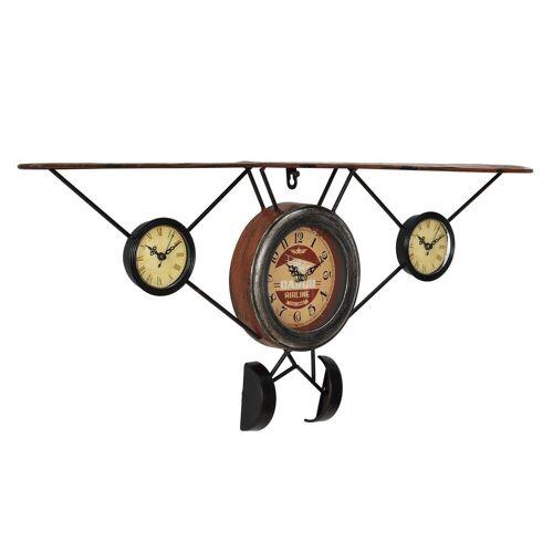 en.casa Wanduhr (Flugzeug« Design Uhr Metall)