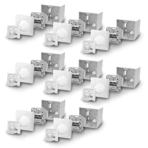ARLI »Cat6a Netzwerkdose Netzwerk Dose 2 RJ45 Port Aufputz / Unterputz« Netzwerk-Adapter, Universal Gigabit / Ethernet Kombidose