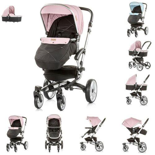 Chipolino Kombi-Kinderwagen »Kinderwagen Angel 2 in 1«, Babywanne, Sportsitz, Abdeckung, Ledergriff, rosa