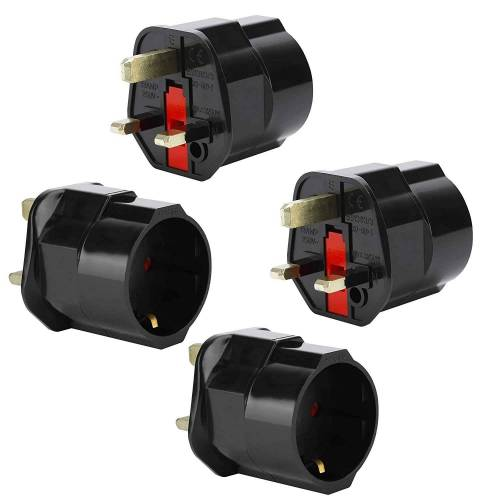 Intirilife »4x Steckdosen Adapter« Stromadapter, 4er Set UK Typ G auf EU Schuko Steckdosen Stromadapter Reisestecker für z.B. UK, Irland, Singapur, Malaysia
