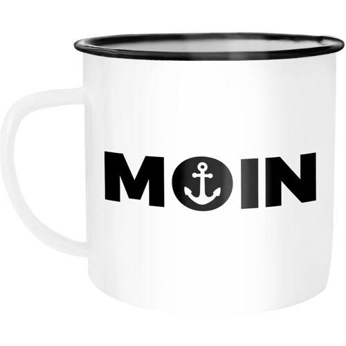 MoonWorks Tasse »Emaille Tasse Becher Moin Anker Kaffeetasse ®«, emailliert und mit Aufdruck