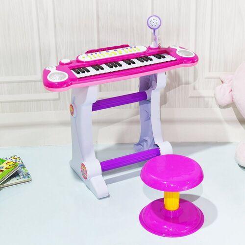 COSTWAY Keyboard »Kinder Keyboard«, 37 Tasten, inkl. Mikrofon, mit Ständer&Lichter, Rosa, Rosa