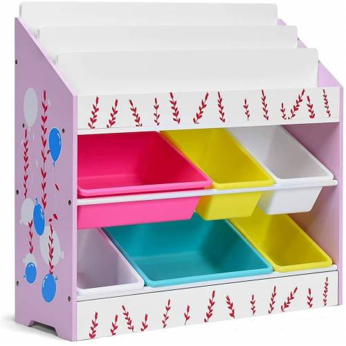 COSTWAY Bücherregal »Aktenregal Aufbewahrungsregal«, Spielzeugregal, mit 6 Aufbewahrungsboxen, bunt