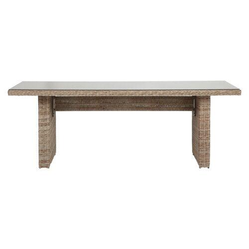 ebuy24 Gartentisch »Gram Gartentisch 210 x 96 cm, mit Glasplatte, natu«