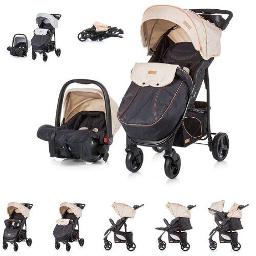 Chipolino Kombi-Kinderwagen »Baby Kombikinderwagen Passo 2 in 1«, mit Autositz, Fußsack, beige