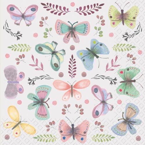 stewo Papierserviette »Schmetterlinge pastell«, 33 cm x 33 cm