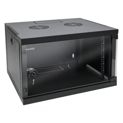 HMF »Serverschrank 19 Zoll, 6-9 HE« Netzwerk-Switch (6 HE, Netzwerkschrank, voll montiert, 54 x 44,5 x 35 cm, Schwarz), Schwarz
