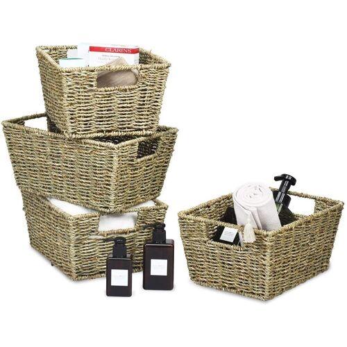 COSTWAY Aufbewahrungskorb »4er Set Aufbewahrungsboxen«, aus Seegras, für Regale und Schränke, zum Organisieren von Küche, Badezimmer
