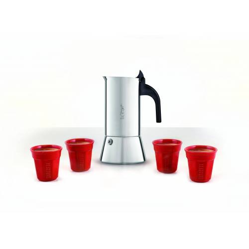 Bialetti Espressokocher, Edelstahl Espressokocher 6 Tassen Venus + 4 Tassen Espresso Mokka Bereiter