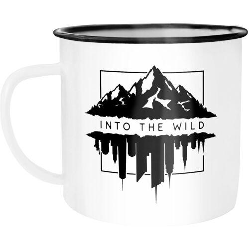 Autiga Tasse »Emaille Tasse Becher Into The Wild Berge Skyline Kaffee-Tasse ®«, emailliert und mit Aufdruck