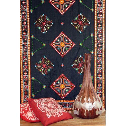 Guru-Shop Tagesdecke »Besticktes Tuch mit Spiegelchen, Wandtuch,..«, , schwarz