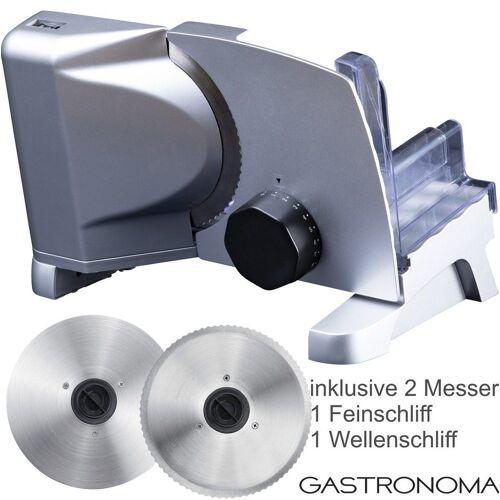 GASTRONOMA Allesschneider 18310007 Metall Allesschneider 2 Messern Metallallesschneider inklusive Feinschliff- und Wellenschliffmesser, 160 Watt, Metallic grau, 160 W