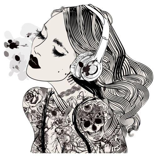 dekodino Wandtattoo »Frau mit Kopfhörern und Tattoos« (1 Stück)
