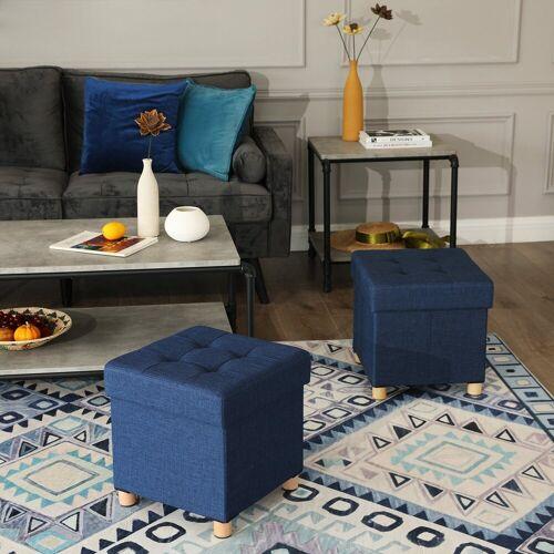 SONGMICS Sitzhocker »LSF14GYX LSF14GYZ LSF14IN«, Sitzhocker, faltbare Sitztruhe, marineblau, Marineblau