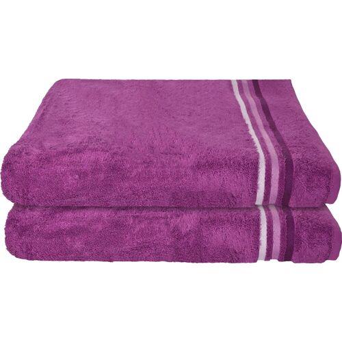 Schiesser Badetücher »Skyline Color« (2-St), mit Webbordüre, violett