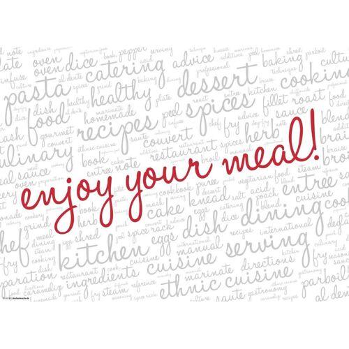 Tischsetmacher Platzset, »Tischsets I Platzsets - Enjoy your meal! weiß - 12 Stück aus hochwertigem Papier 44 x 32 cm«, , (12-St)