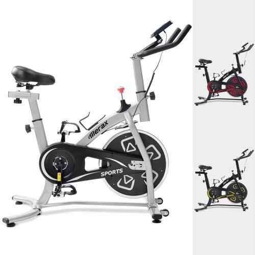 Merax Speedbike, Heimtrainer Fahrrad, Indoor Cycle, mit LCD-Konsole, Schwarz-Silber