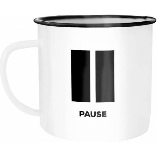 MoonWorks Tasse »Emaille Tasse Becher Pause Bürotasse Kaffeetasse Auszeit Ruhe Kaffeetasse ®«, emailliert und mit Aufdruck