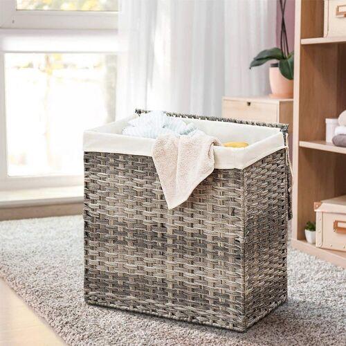COSTWAY Wäschekorb »Wäschekorb«, faltbar, mit Deckel, 2 Fächer, Grau