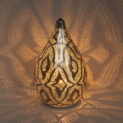 Casa Moro Nachttischlampe »Orientalische Lampe Alia Zouak D20 Silber marokkanische Tischlampe aus Messing«