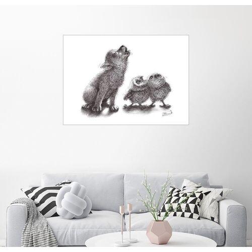 Posterlounge Wandbild, heulender Wolf trifft heulende Eulen