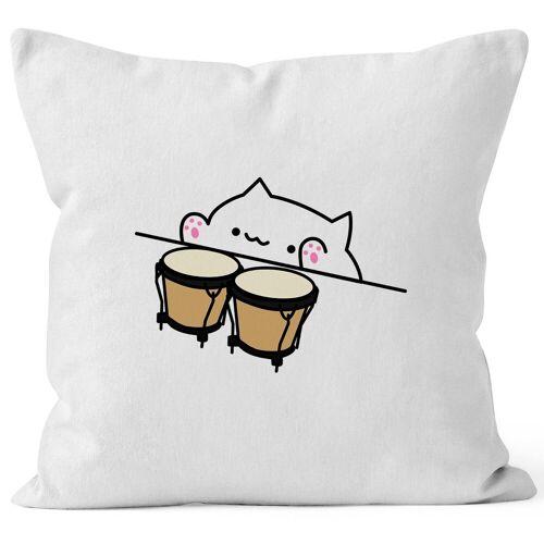 MoonWorks Dekokissen »Bongo Cat Kissen-Bezug Meme Kissen-Hülle Deko-Kissen ®«, weiß