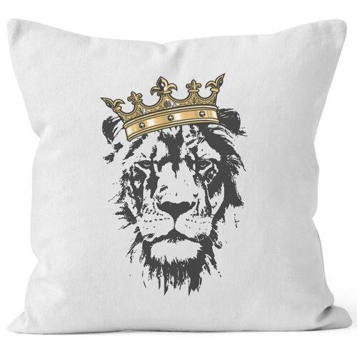 Autiga Dekokissen »Kissenbezug Löwen-Kopf mit Krone ®«, weiß