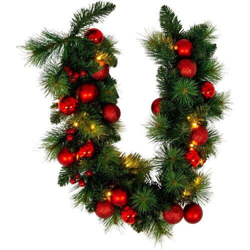 näve LED-Lichterkette »LED-Weihnachtslichterkette mit Dekoration l: 100cm - rot«, 20-flammig, Timer