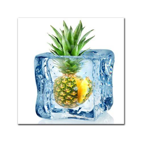 Bilderdepot24 Leinwandbild, Leinwandbild - Eiswürfel Ananas