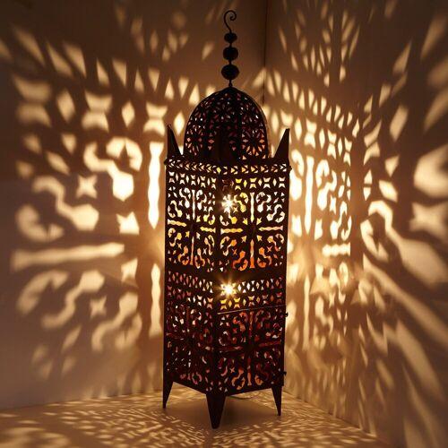 Casa Moro Laterne »Orientalische Laterne marokkanische Eisenlaterne Firyal H-136 cm x breite 33 edelrost-braun für draußen & Innen, hängend & stehend, Kunsthandwerk aus Marokko, L1656«
