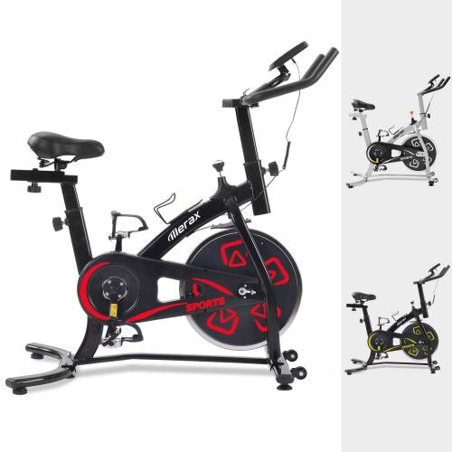 Merax Speedbike, Heimtrainer Fahrrad, Indoor Cycle, mit LCD-Konsole, Schwarz-Rot
