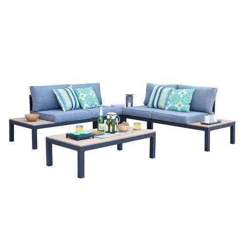 HTI-Line Sitzgruppe »Terrassenmöbel Malaga«, (2x Zweisitzer, 2x Tisch, 4-tlg), Terrassenmöbel