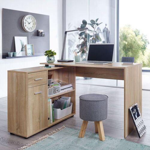 Wohnling Schreibtisch »WL5.304«, Design Eckschreibtisch mit Regal Sonoma 120 x 75,5 x 106,5 cm Moderner Büro-Schreibtisch Computer-Tisch Arbeitszimmer Winkelschreibtisch Home Office